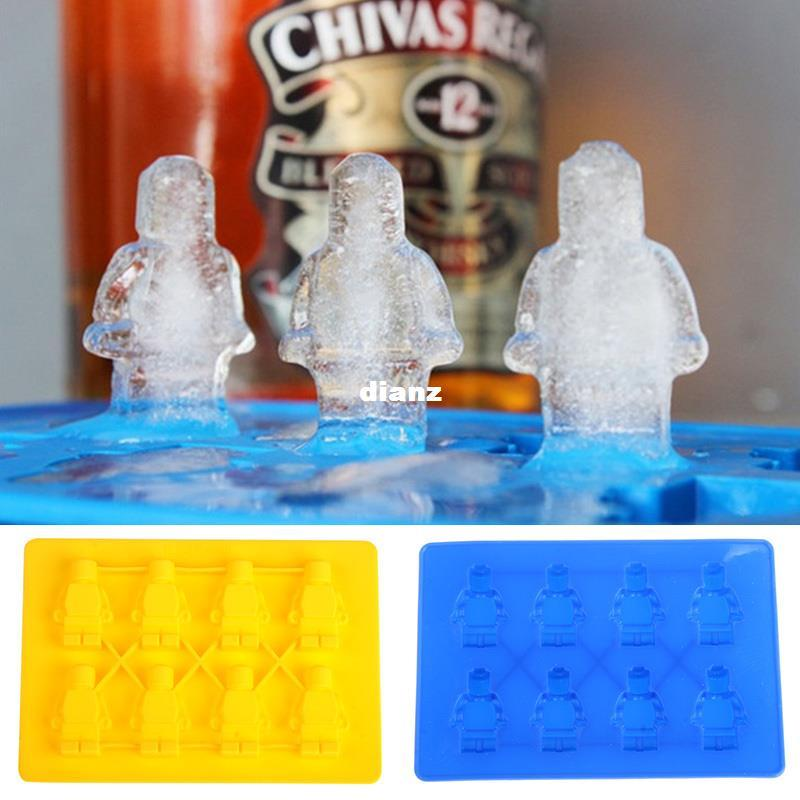 Fashion Hot Unique DIY Ice Cube Tray Chocolate Ice Mold Maker Bar Party Drink Lego Man Style