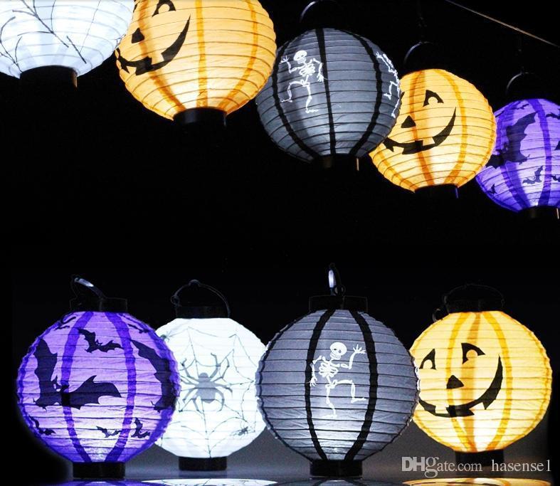 LED Halloween Pumpkin Lights Lamp Paper Lantern Spiders Bats Skull Pattern Decoration LED Battery Bulbs Ballons Lamps for Kids