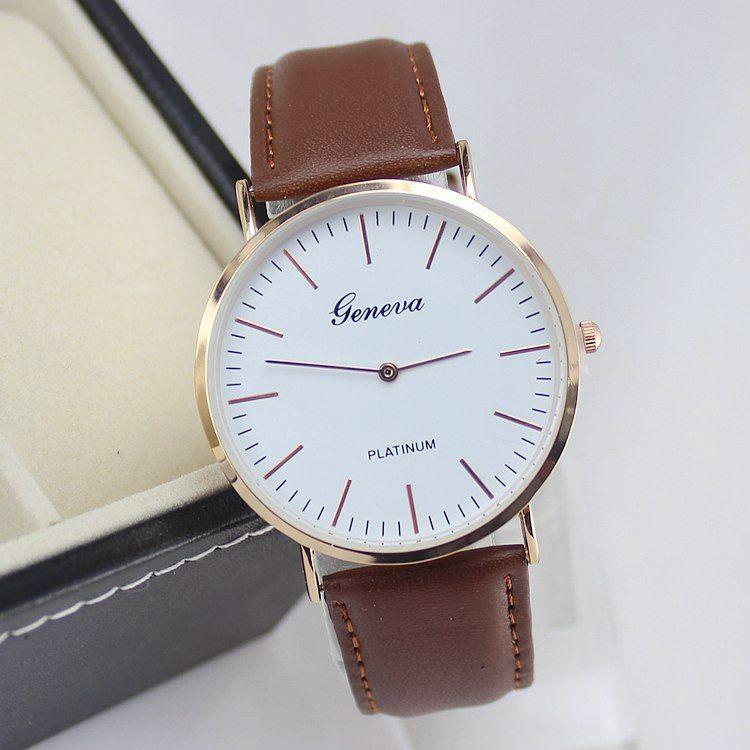 Quartz relógio Casual Couro Men relógio de Moda de Nova Super Fino Platimum Mulheres Gentleman Relógio de pulso Relógio horas