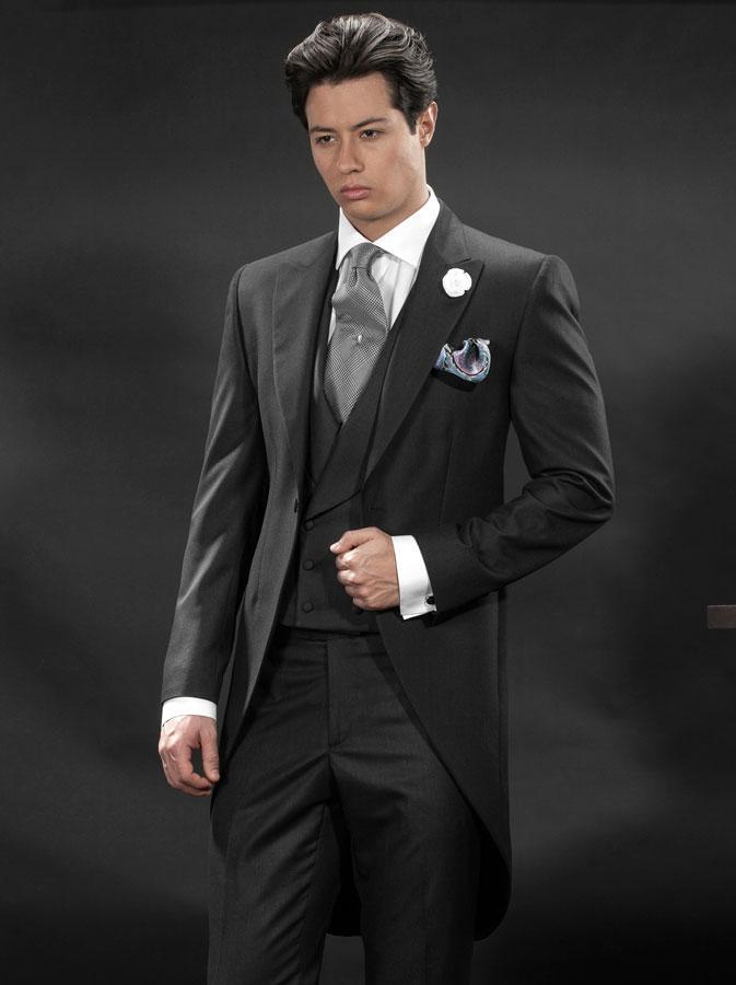 Slim fit tailcoat Groomsmen suit dark gray Wedding suits for Men ...