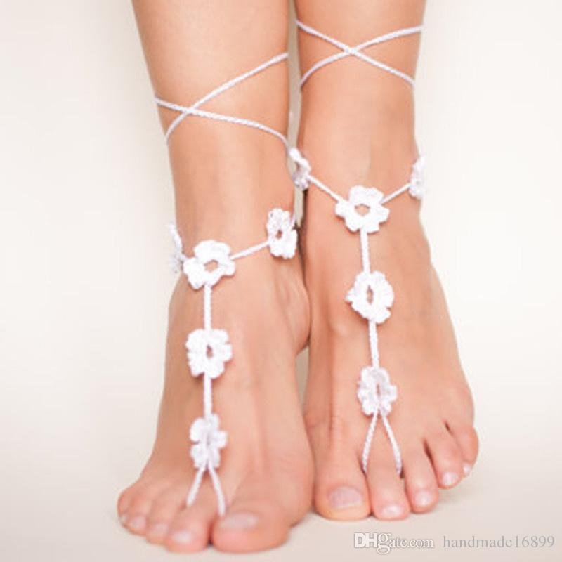 set of 2 pcs Pair Anklet Crochet Barefoot Sandals Nude Shoes Beach Wedding Foot Jewelry Bridal Accessories