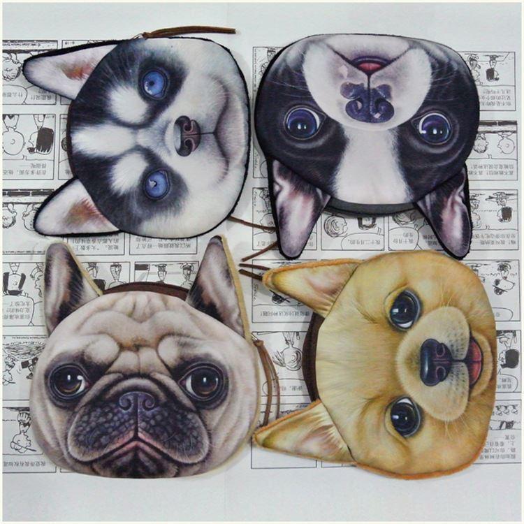 2015 новый милый кот собака лицо молнии чехол портмоне женский кошелек / кошельки макияж багги сумка модель JIA255