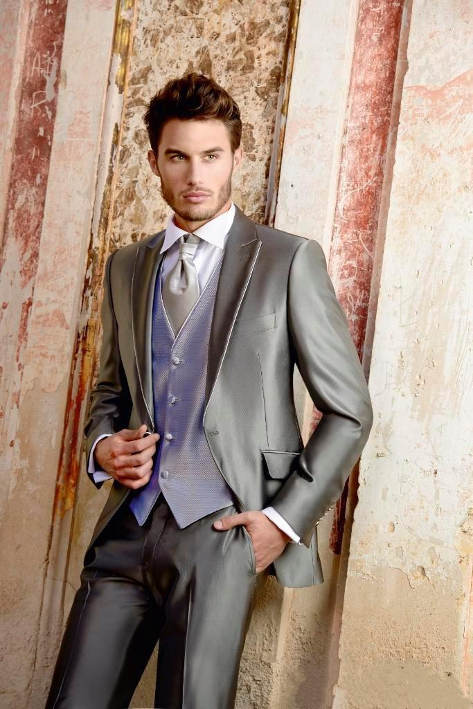 Silver Grey One Button Groom suits for Wedding 2016 New The Best ...