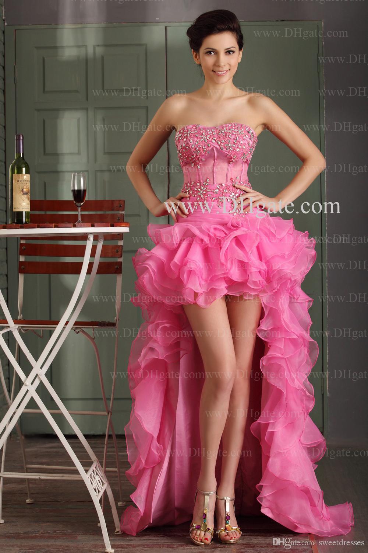 Compre 2015 Vestidos De Baile Cristales Apliques Sin Tirantes De ...