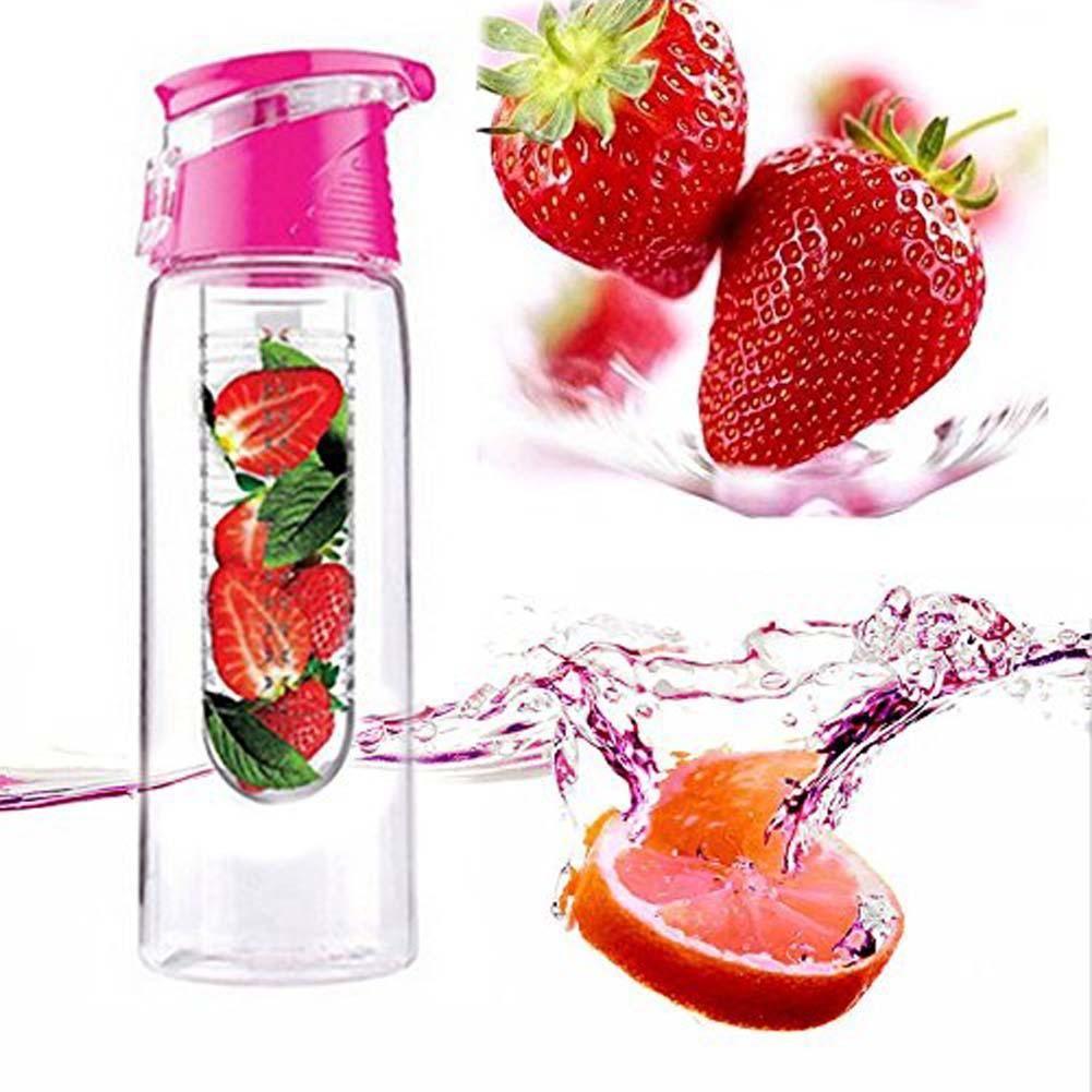 Pink 700mL Sports Healthy Fruit Juice Infuser Infusing Water Bottle Flip Lid