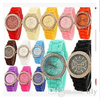 2015 Colorful Fashion Shadow Geneva Crystal Diamond Jelly Rubber Silicone Watch Unisex Men's Women's Quartz Candy Watches Gold wristwatch