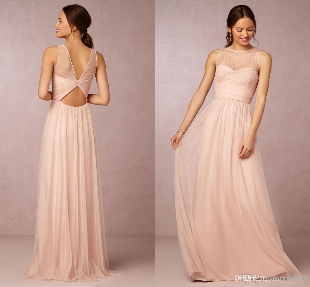 신부 들러리 드레스 2015 뜨거운 싸게 크루 넥 Tulle 블러쉬 핑크 쉬어 환상 공허한 뒤로 결혼식 파티 드레스 웨이트 드레스 100 미만