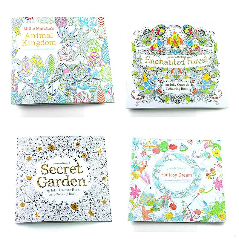 Painting Coloring Books 4 Designs Secret Garden Animal Kingdom Fantasy Dream And Enchanted Forest 24 Pages