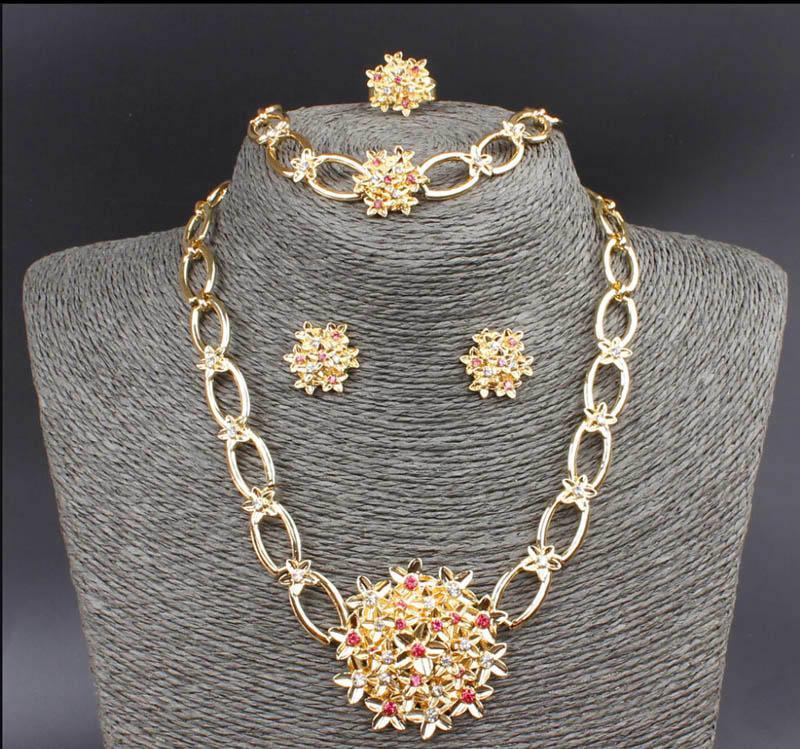 Ciondolo fiore set placcato oro 18 carati cristallo austriaco collana anello anello orecchini gioielli set per le donne regali della festa nuziale
