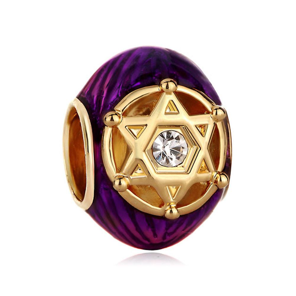 Enamel filigree David star bead wholesale Factory Brass Jewelry Faberge Egg charm Russion Egg Beads Fits for Bracelets
