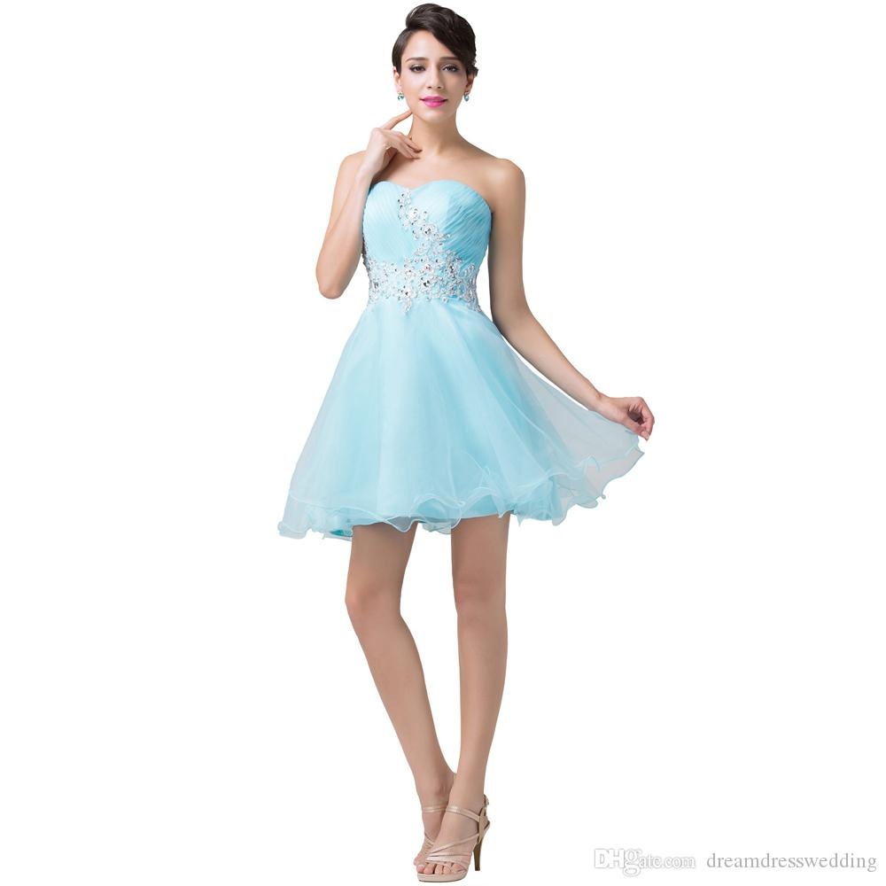 Real Photo 2015 Light Blue Lace Short Prom Dresses Sexy Strapless ...