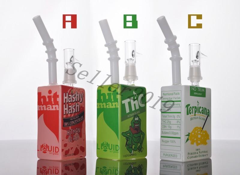 최신 공장 세일즈맨 히트 만 리퀴드 Sci Glass Bong Oil Dab Rigs 시리얼 박스 Oil Rigs 14.5mm 합동 무료 배송