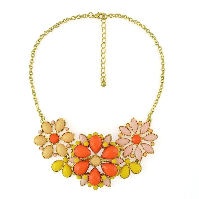 패션 골드 도금 합금 수지 4 색 큰 꽃 초커 목걸이