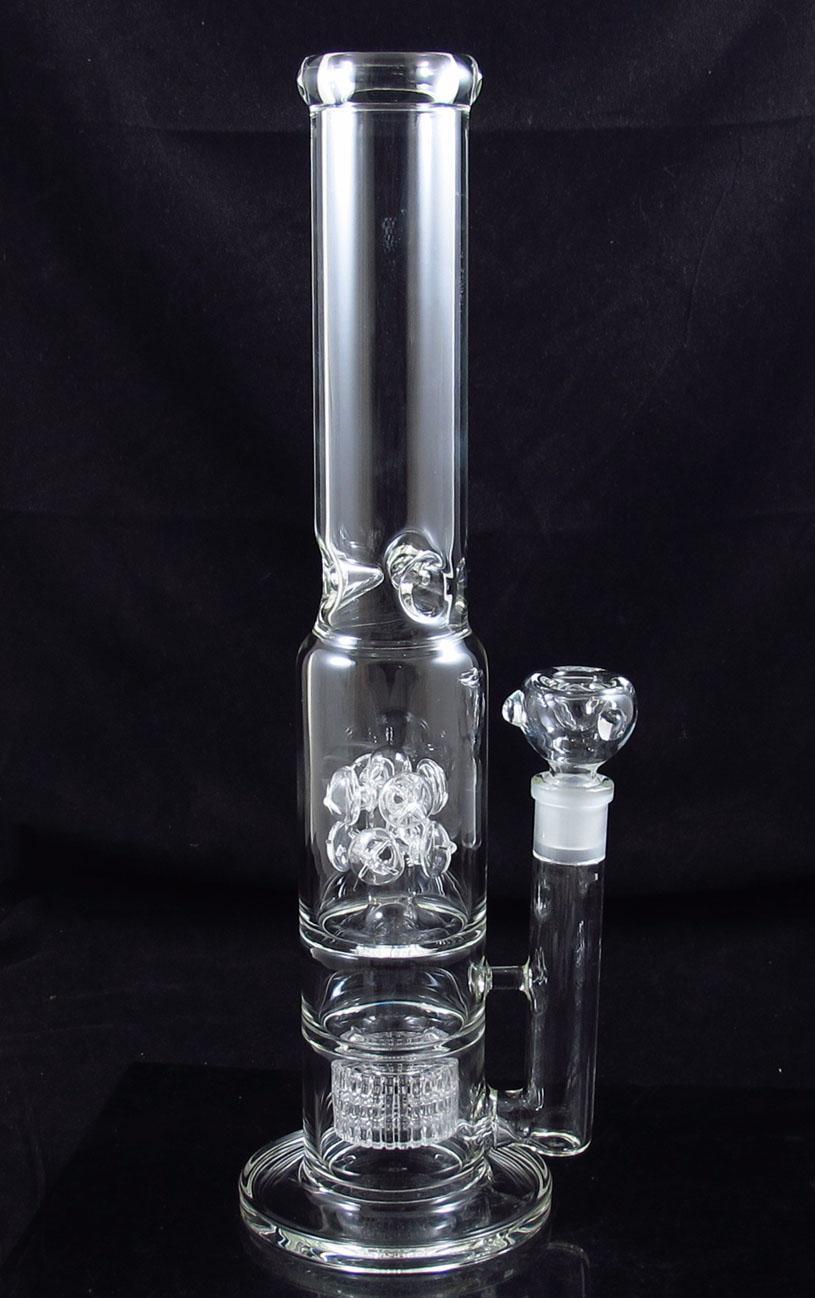 15,5 pouces verre bang bulleur double baril recycleur Champignon perc Percolator Matrix fumer pipe YQ-2297