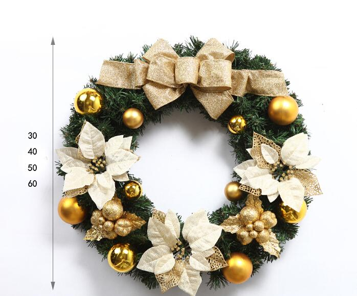 65cm diameter golden and red christmas decorative flower wreath Christmas Garland Gift for home garden and hotel