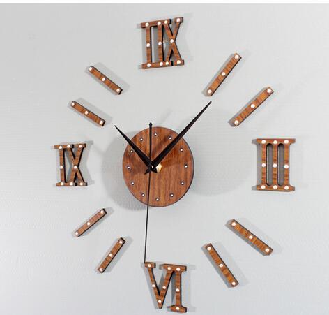 ثلاثي الأبعاد المسامير المعدنية الرجعية نبل الإبداعية DIY ساعة الماهوجني الخشب شنقا الساعات الأرقام الرومانية