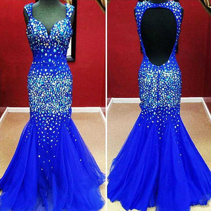 Royal Blue Sweetheart Paski Koraliki Syrenki Prom Dresses Uroczy Hollow Back Free Shoping Tulle Suknie Wieczorowe Tanie 2014 Real Images