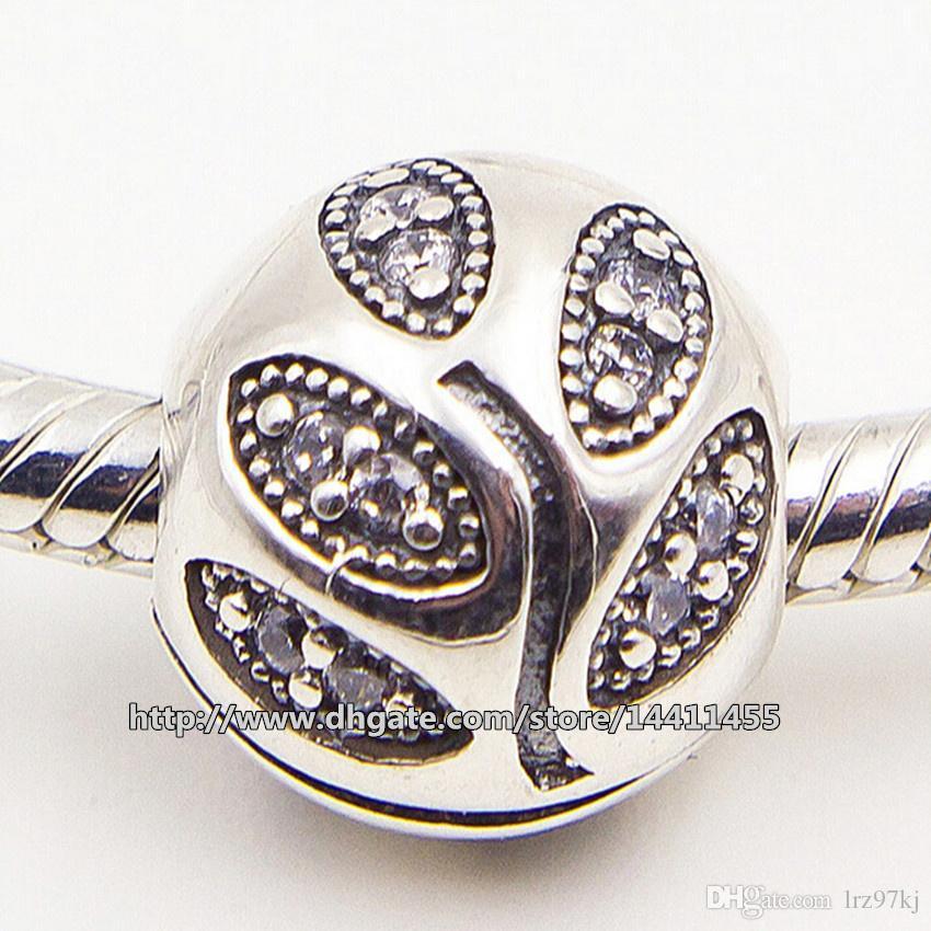 925 Ayar Gümüş Köpüklü Yapraklar Charm Boncuk ile Temizle CZ Klip Avrupa Pandora Takı Bilezikler Kolye Uyar