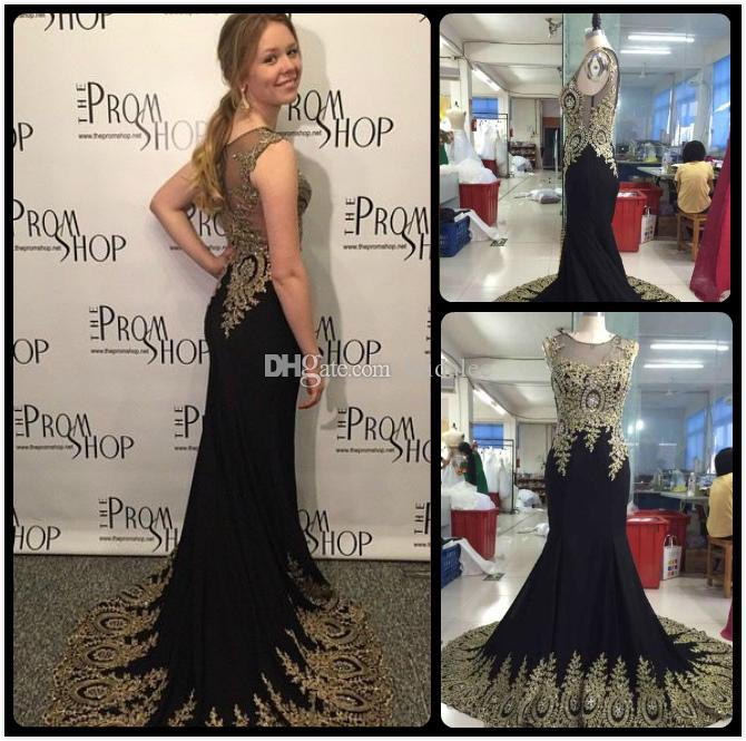 Real Photos 2016 Black Prom Dresses for Juniors Beaded Plus Size Arabic Dubai Celebrity Wedding Evening Formal Wear Gowns With Lace Applique
