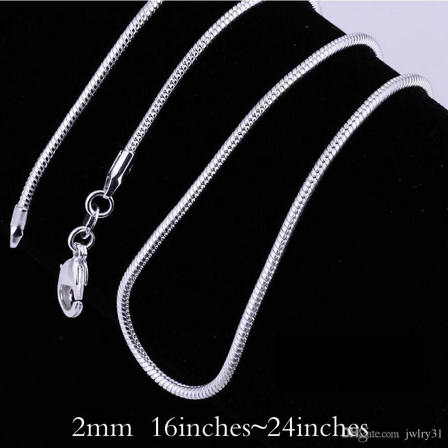Big Promotions! 925 Sterling Silver Smooth Snake Chain Collier Fermoirs Homard Chaîne Bijoux 2mm 16-24 pouces Mix Taille Charme Collier bijoux