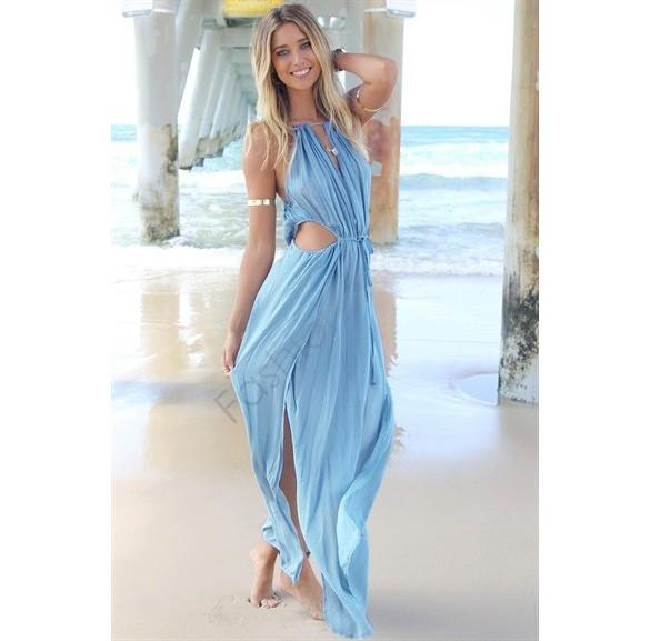 Nova Chegada 2014 Mulheres Vestido de Verão império Suspensórios Plus Size Escavar Praia Com Decote Em V boêmio Maxi Vestido de Verão Vestido Longo b4