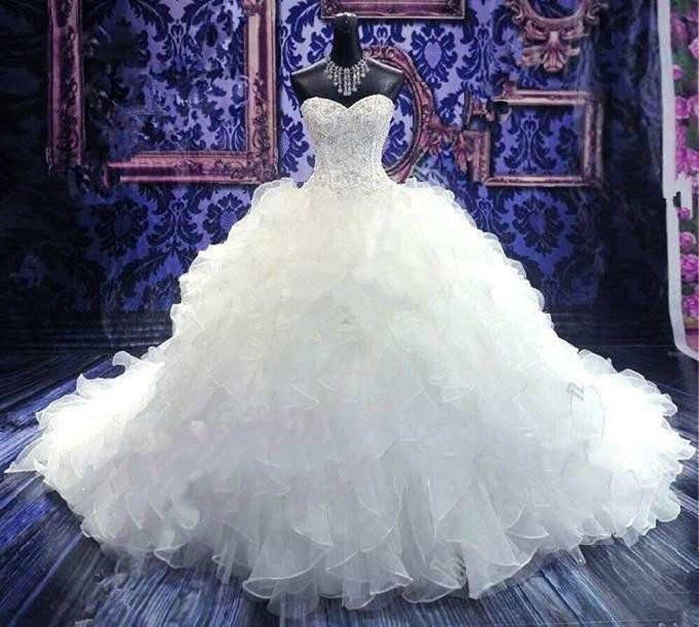 Pas cher longue train bal robe de mariage Paiement à la livraison robe noiva chérie perles organza Puffy robe de mariée