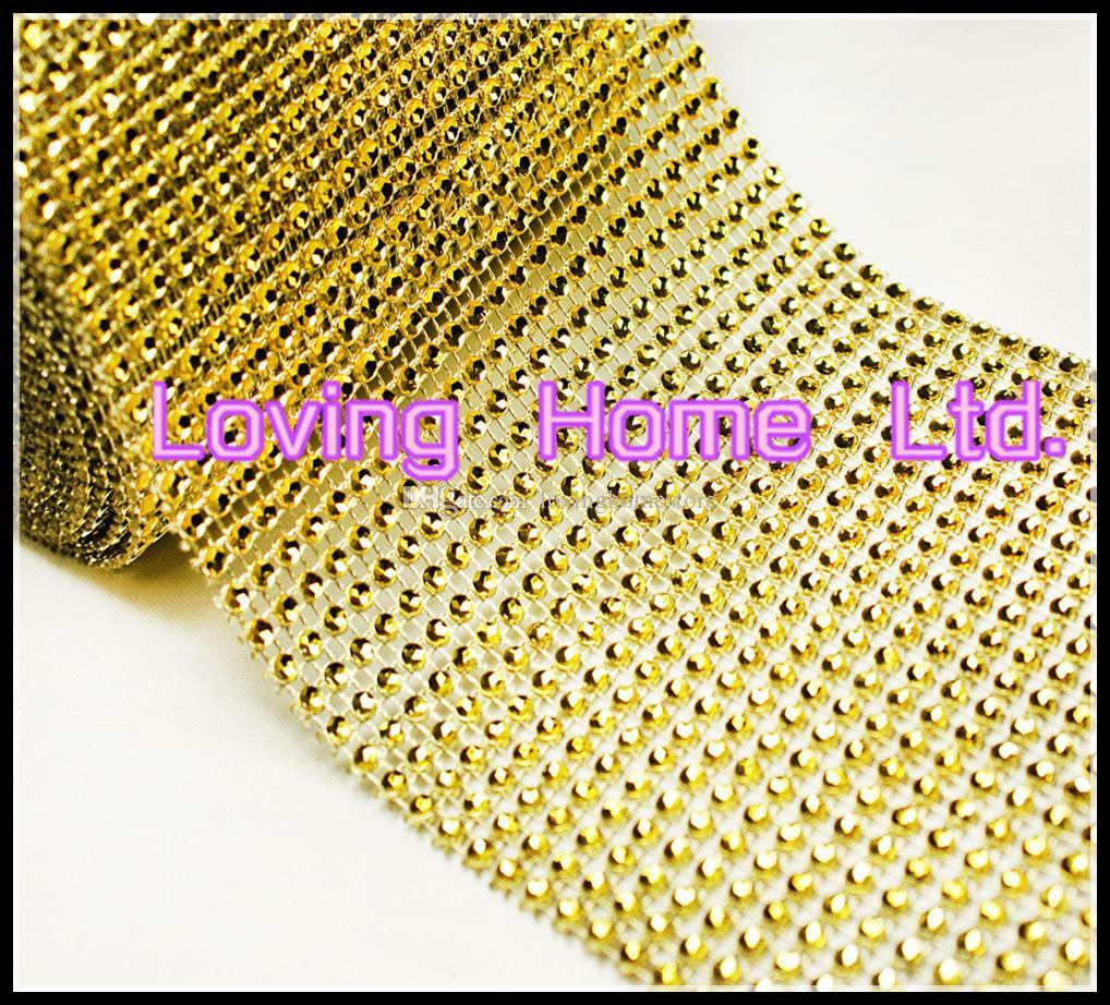 4.75 '' x 5 Yards 24 Row Gold Diamond Mesh Wrap Roll Sparkle Rhinestone Crystal Looking Ribbon Wedding Party Christmas Decor