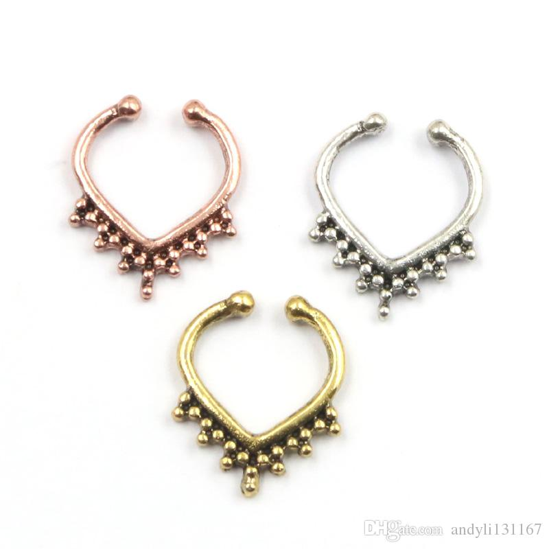 10pcs NEW septum fake nose rings alloy silver and gold heart septum rings clip on hoop nose faux piercing for women body jewelry