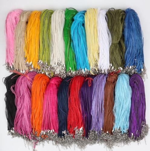 """2017 mode 100 stks / partij 22 kleuren organza voile lint kettingen hangers kettingen 3 + 1 18 """"44cm sieraden DIY geen stenen"""