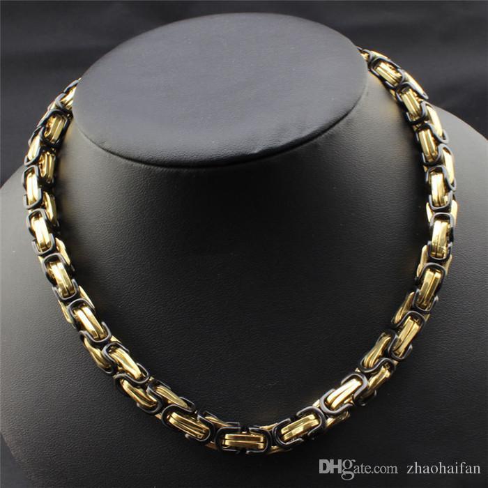 ZHF Bijoux 18kgp Men's Swiss Precision Acier Collier Collier Collier et Bracelet large 8mm Bijoux Ensembles de luxe Cadeaux de luxe