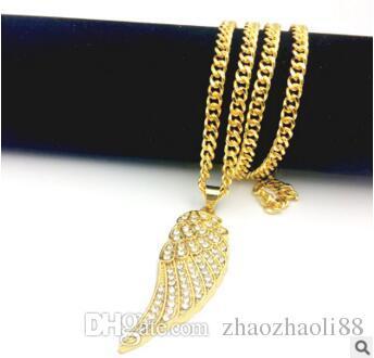14K Gold Engel Flügel Lab Diamant Halskette einseitige Flügel europäischen amerikanischen Stil Hip Hop Anhänger