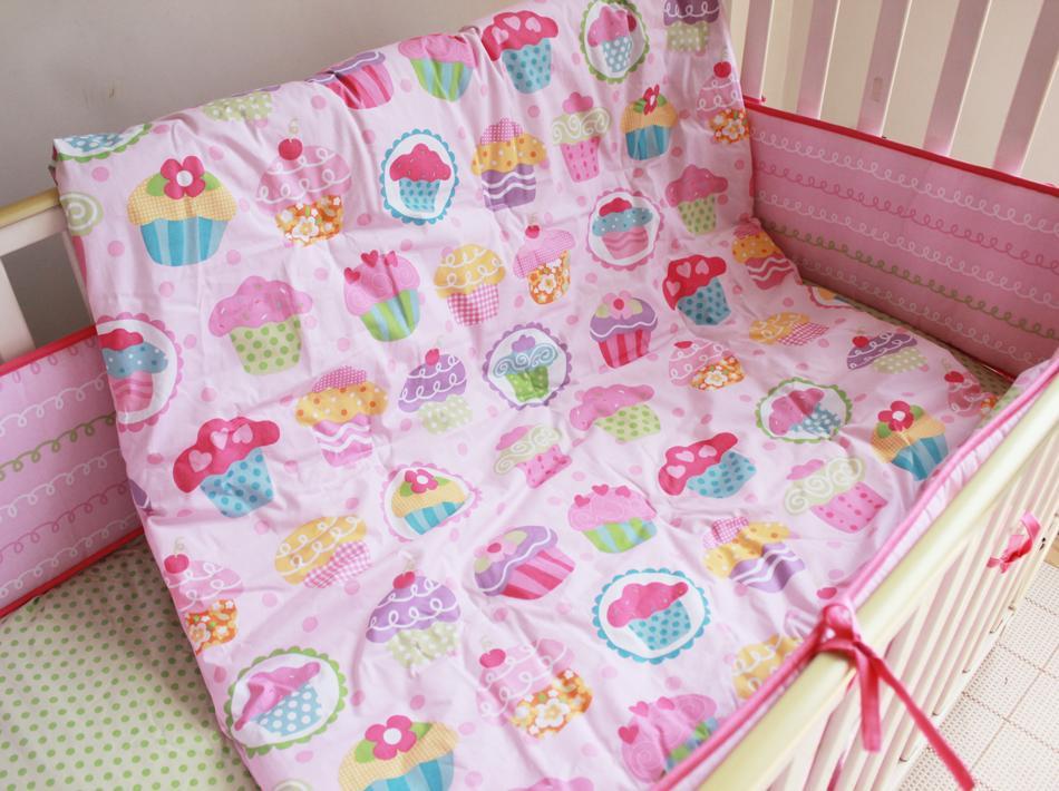 High Quality Children Bed Bedding Around Set 100% Cotton Crib Sets,Soft Comfortable 7 Pcs Baby Bedding Set Unpick