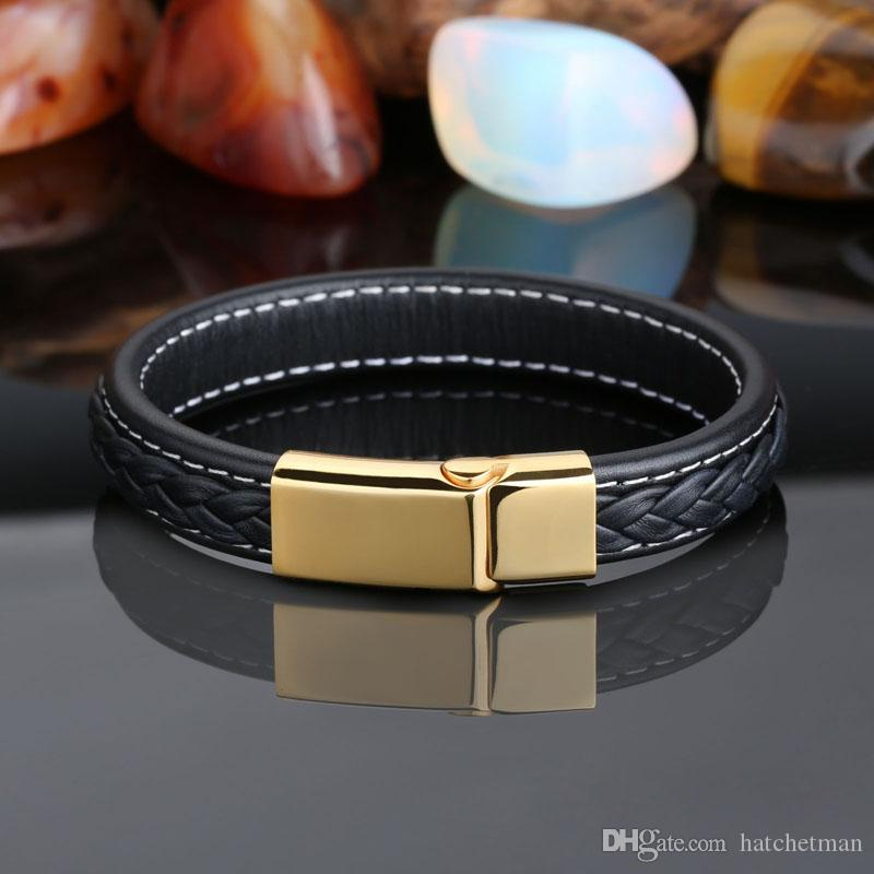 New Black Genuine Leather Gold Stainless Steel Fashion Mens Chain Bracelet 12mm