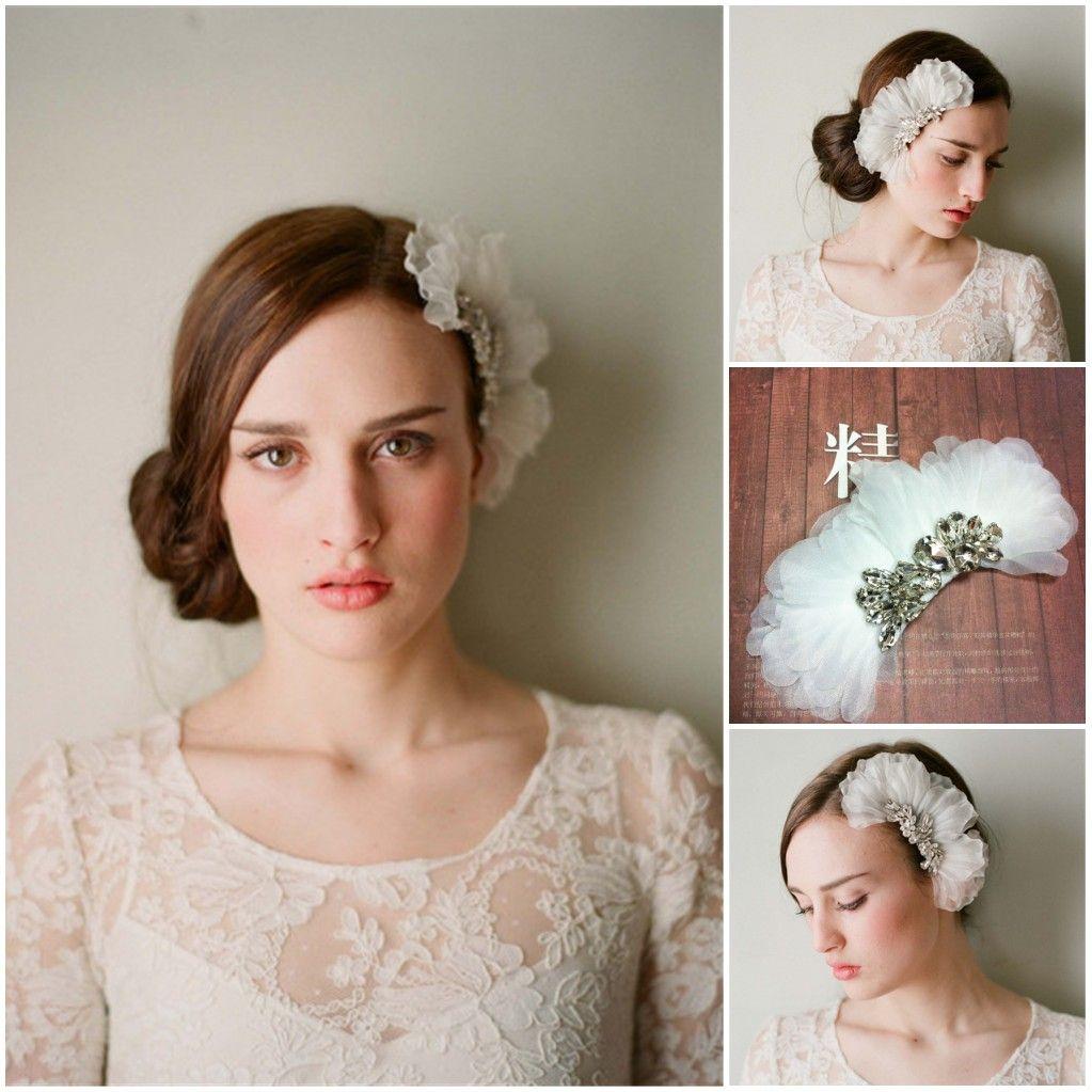 2017 accessori per capelli fiore bianco organza con pettine cristalli copricapo da sposa belle donne accessori da festa spedizione gratuita CPA098