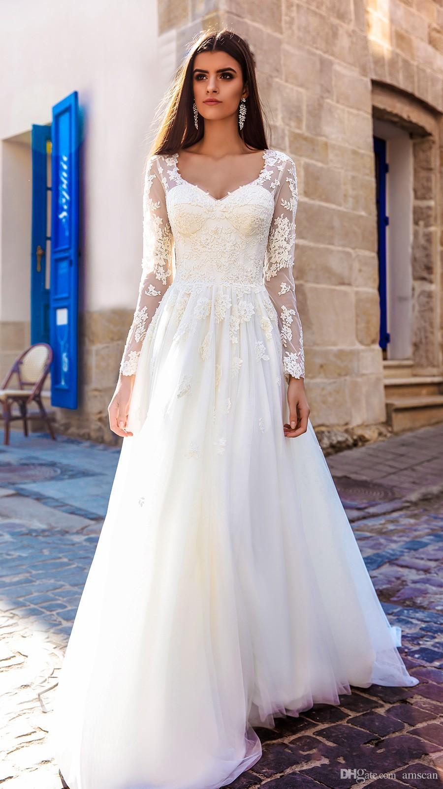 Acheter 2018 Une Ligne Manches Longues V Cou Dentelle Tulle Robes De Mariee Simple Elegant Appliques Robes De Mariee Plus La Taille Vestios De Novia