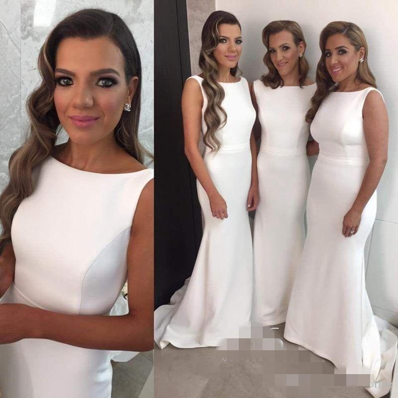Elegante satijnen bruidsmeisje jurken 2016 juweel backless mermaid prom formele jurken avondkleding sweep trein