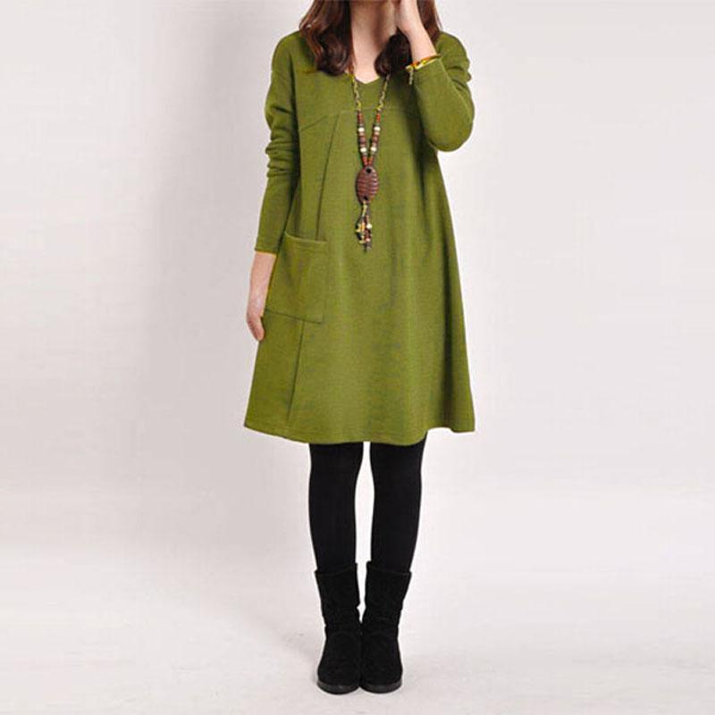 الجملة 2016 جديد الخريف الشتاء المرأة أنيقة عارضة فستان طويل كم جيب الصلبة O الرقبة فضفاض فساتين Vestidos زائد الحجم S-XXL 5 اللون