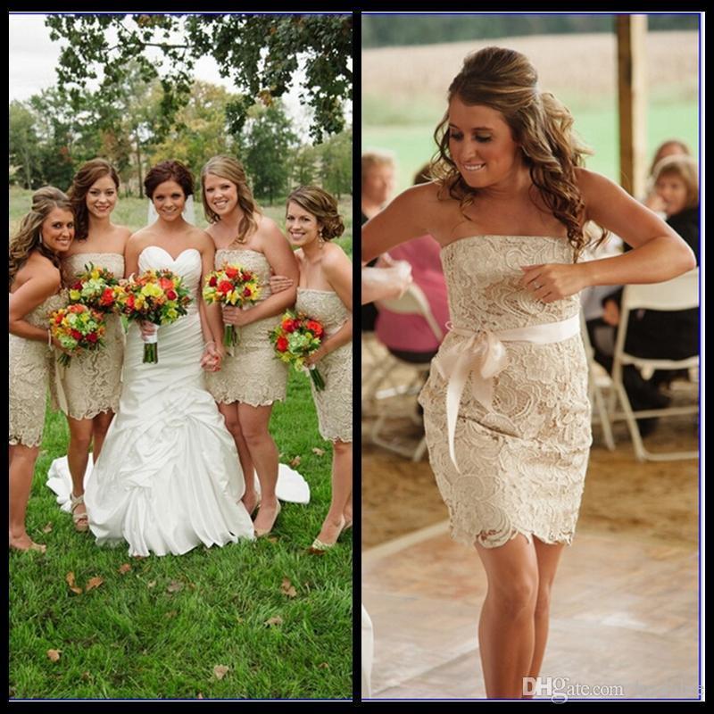 2016 Barato Curto Rendas Vestidos de Dama de honra Sem Alças Bainha Maid of Honor Vestidos de Festa de Casamento Vestidos com Seda Cetim Vestido de Baile
