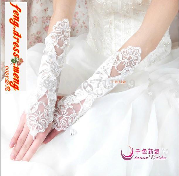 Beyaz Fildişi Parmaksız Dantel Düğün Gelin Eldiven bilek Pullu Boncuk Yüksek Kaliteli Eldivenler Ipek Saten Kumaş ST003