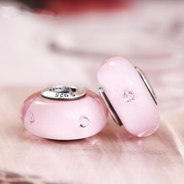 Nieuwste abstracte zilveren charme met roze Murano glazen kralen past Pandora Armbanden Originele 925 Sterling Silver Heart Zircon Charm Losse kralen