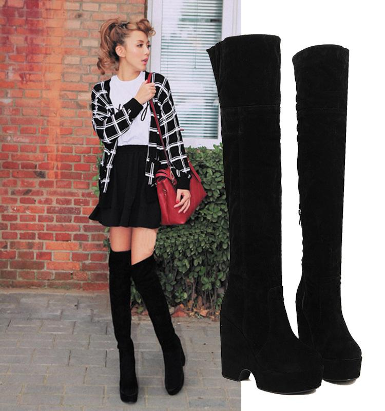 43104cff5c0 Hot Women Over Knee Boots Winter 2015 NEW Over The Knee Boots Women'S  Winter Snow Boots Zipper Suede Wedges Black Fur Boots Ladies Shoes Ankle  Boots ...