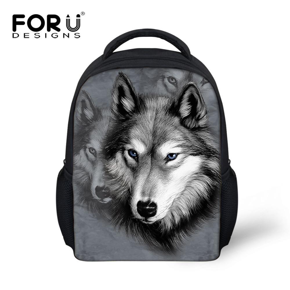 Animal School Bags For Kindergarten Zoo Wolf Pug Dog Print Kids Schoolbag Boys Children Casual Book Bags Mochila Infantil Bolsas