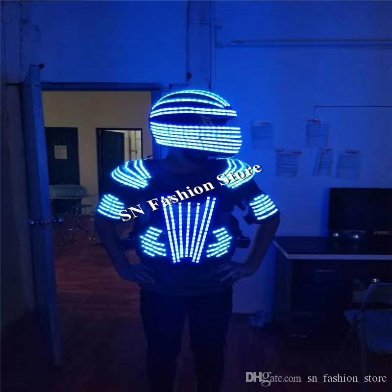 L99 LED helmet ballroom dance led costumes mens robot dance clothes led suit luminous mask party stage show dj singer glowing wears lighting