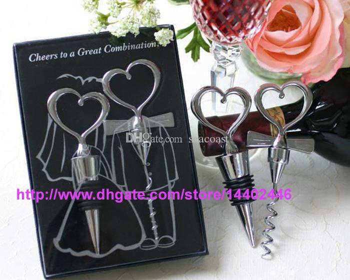 100sets 200 قطع فتحت زجاجة النبيذ القلب شكل مزيج كبير المفتاح و سدادة على شكل قلب مجموعات الحسنات الزفاف هدية