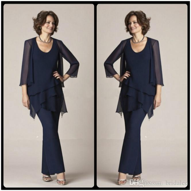 2015 New Arrival Summer Autumn Navy Blue Mother Of The Bride Chiffon ...