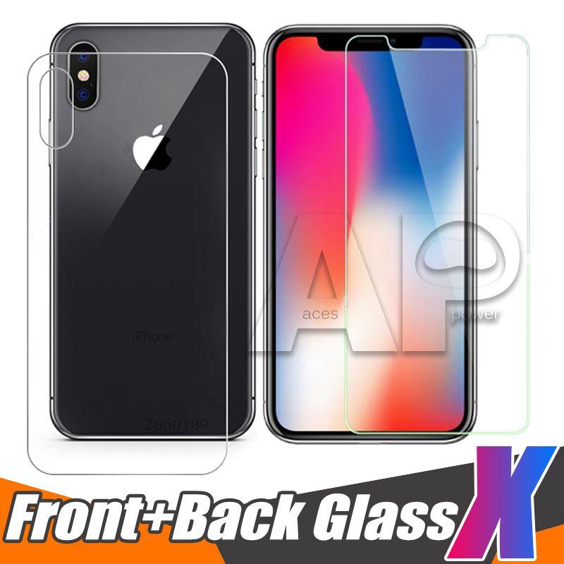 Dianteira e traseira temperado vidro traseiro Para novo iPhone XR XS MAX X 10 8 Plus filme protetor de tela de proteção transparente com pacote