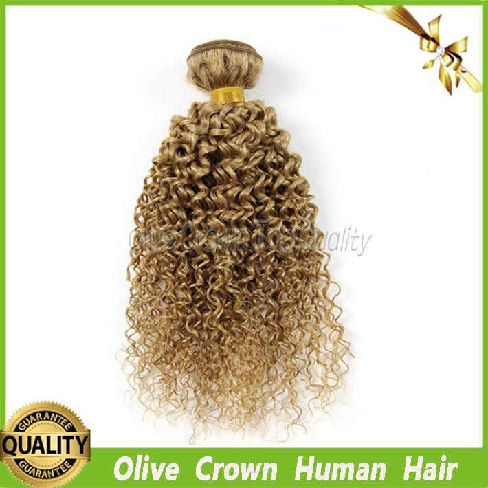 Бразильские человеческие волосы мед блондинка кудрявый вьющиеся волосы уток 100% человеческих волос ткать локон пучки цвет #27 класс 7а бразильский Реми наращивание волос