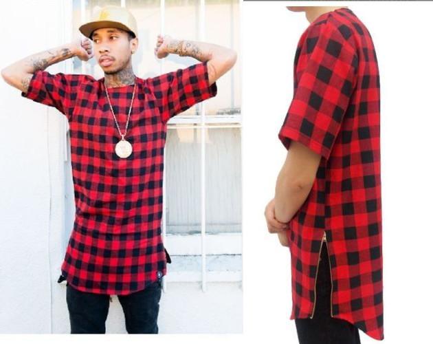 Tyga L K Hip Hop Altın Yan Fermuar Boy Ekose T gömlek Erkekler Rahat Ekose Tartan Tee Gömlek