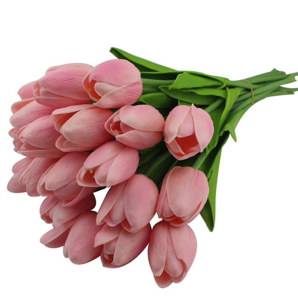 Tulipani artificiali all'ingrosso dell'unità di elaborazione per la decorazione domestica / fiore artificiale Sposa che tengono i fiori per cerimonia nuziale (10pcs / lot)
