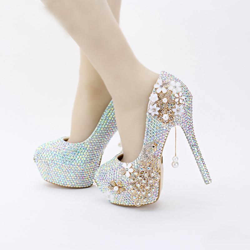 2019 новый дизайн Bling Bling AB цвет свадебные туфли горный хрусталь Феникс женщины насосы религиозная церемония высокие каблуки выпускного вечера обувь